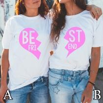 Modernes Bedrucktes T-Shirt mit Rundhalsausschnitt Herzmotiv und Kurzen Ärmeln