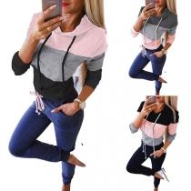 Moderner Hoodie in Kontrastierenden Farben mit Langen Ärmeln und Kapuze