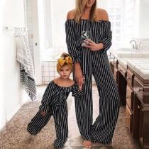 Sexy Gestreifter Overall für Mutter und Tochter mit Freien Schultern und Hoher Taille