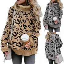 Modischer Pullover mit Langen Ärmeln Rollkragen und Leopardenmuster