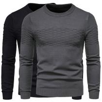 Moderner Pullover für Herren mit Volltonfarbe Langen Ärmeln und Rundhalsausschnitt
