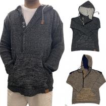 Moderner Dünner Pullover für Herren mit Gemischten Farben Langen Ärmeln und Kapuze