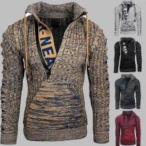 Moderner Pullover für Herren in Gemischten Farben mit Langen Ärmeln und Stehkragen