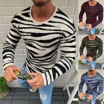 Modisch Gestreifter Pullover für Herren mit Langen Ärmeln und Rundhalsausschnitt