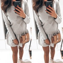 Modernes Sweatshirt mit Rundhalsausschnitt Langen Ärmeln und Batikmuster