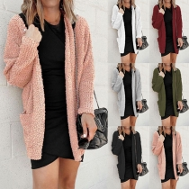 Fashion Solid Color Long Sleeve Loose Knit Cardigan