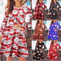 Fashion Long Sleeve Round Neck Printed Christmas Dress