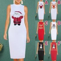 Fashion Sleeveless Round Neck Cartoon Printed Slim Fit Dress