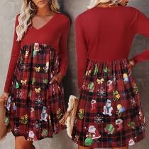 Fashion Long Sleeve V-neck Printed Spliced Hem Dress
