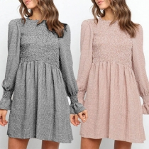Fashion Long Sleeve Round Neck High Waist Plaid Dress