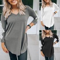Fashion Lace Spliced Long Sleeve V-neck T-shirt