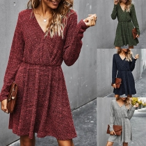 Fashion Long Sleeve V-neck High Waist Dress