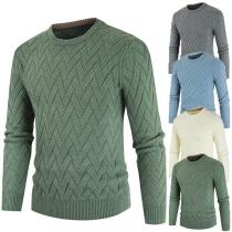 Modischer Pullover mit Volltonfarbe Langen Ärmeln und Rundhalsausschnitt