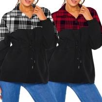 Modernes Sweatshirt mit Kariertem Design Langen Ärmeln und Stehkragen