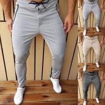 Moderne Sporthose für Herren mit Volltonfarbe und Taille mit Tunnelzug