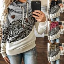 Moderner Kapuzenpullover mit Kontrastierenden Farben Leopardenmuster und Langen Ärmeln