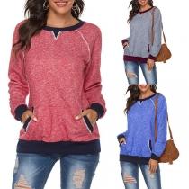 Modernes Sweatshirt in Kontrastierenden Farben mit Langen Ärmeln und Rundhalsausschnitt
