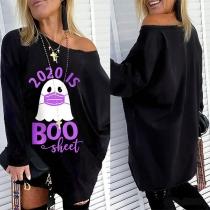 Sexy Bedrucktes Sweatshirt mit Schräger Schulter Langen Ärmeln und Cartoonmotiv