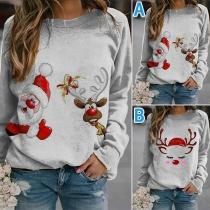 Sweatshirt mit Niedlichem Elch-Motiv Langen Ärmeln und Rundhalsausschnitt