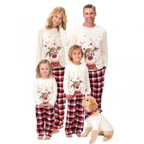 Niedliches Pyjama-Set für Eltern und Kinder mit Elch-Motiv bestehend aus Tops mit Langen Ärmeln + Hosen