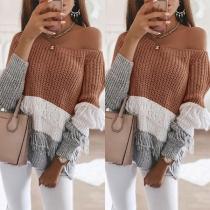 Sexy Pullover mit Freier Schulter Langen Ärmeln Kontrastierenden Farben und Quasten