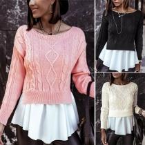 Moderner Pullover mit Gemischtem Design mit Rüschen am Saum Langen Ärmeln und Rundhalsausschnitt