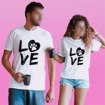 Modernes mit Buchstaben Bedrucktes T-Shirt mit Kurzen Ärmeln und Rundhalsausschnitt