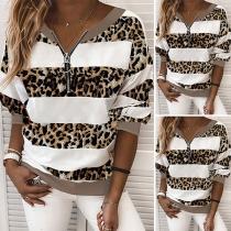 Modernes Sweatshirt mit V-Ausschnitt Akzenten mit Leopardenmuster Langen Ärmeln und Reißverschluss