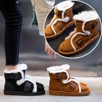 Mode Schneeschuhe mit Flachen Absätzen Runden Zehen und Plüschfutter