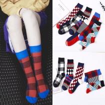 Modernes Socken in Kontrastierenden Farben mit Schickem Muster 2 Paar/Set