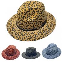 Modischer Hut mit Breiter Krempe und Leopardenmuster