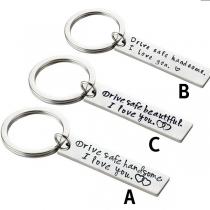 Moderner Gravierter Schlüsselanhänger für Paare