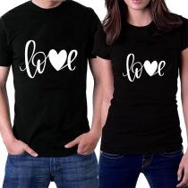 Modernes Bedrucktes T-Shirt für Paare mit Kurzen Ärmeln und Rundem Ausschnitt
