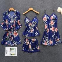 Sexy Set Nachtwäscheset mit Spitzendesign bestehend aus einem Top mit Trägern + Shorts + Nachthemd mit Trägern + Robe (Kein Gummiband)