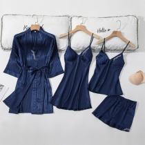Sexy Vierteiliges Nachtwäscheset in Volltonfarbe bestehend aus einem Top mit Trägern + Shorts + Nachthemd mit Trägern + Robe