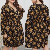 Sexy Kleid in Übergröße mit V-Ausschnitt Langen Ärmeln Hoher Taille und Schickem Muster