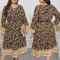 Kleid in Übergröße im Frischen Stil mit Langen Ärmeln Blumenmuster und Rundhalsausschnitt