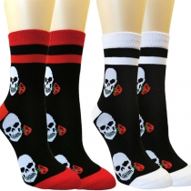 Moderne Socken in Kontrastierenden Farben mit Totenkopfmuster