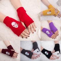 Schicke Gestrickte Fingerlose Handschuhe mit Totenkopfmotiv