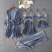 Sexy Vierteiliges Nachtwäscheset mit Spitzendesign bestehend aus einem Top mit Trägern + Nachthemd mit Trägern + Hose + Robe