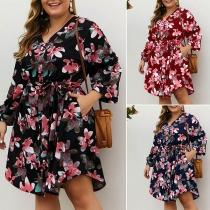 Kleid im Frischen Stil mit Langen Ärmeln V-Ausschnitt Blumenmuster und Hoher Taille