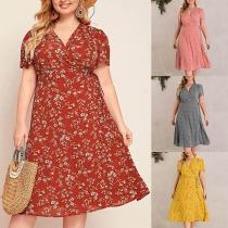 Sexy Kleid in Übergröße mit V-Ausschnitt Kurzen Ärmeln Blumenmuster und Hoher Taille