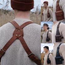 Kunstledertasche im Retrostil für Herren in Volltonfarbe