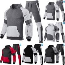 Modischer Sportanzug für Herren in Kontrastierenden Farben bestehend aus einem Kapuzenpullover mit Langen Ärmeln + Hose