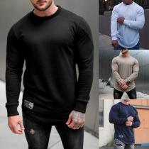 Einfaches Sweatshirt für Herren mit Langen Ärmeln Rundhalsausschnitt und Volltonfarbe