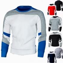 Modernes Sweatshirt für Herren in Kontrastierenden Farben mit Langen Ärmeln und Rundhalsausschnitt