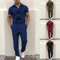 Moderner Overall für Herren mit Kurzen Ärmeln Polo-Kragen und Volltonfarbe