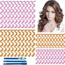 40 Pieces Water Ripple Hair Rollers with 3 Pieces Styling Hooks