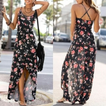 Sexy Kleid mit Freiem Rücken Schlitz Trägern und Blumenmuster