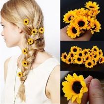 Nette Haar Accessoires in Sonnenblumenform 5 Stück / Set